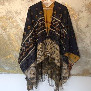 Sweaters - World Market Reversible Blanket Pancho
